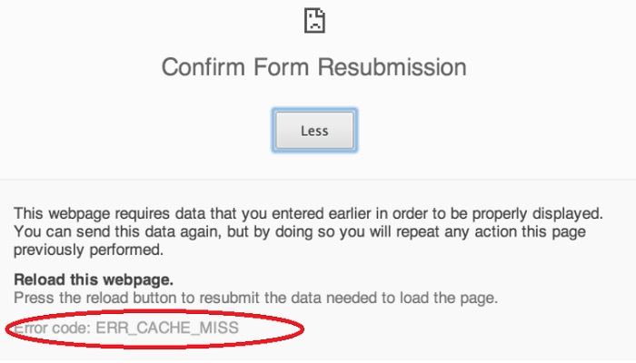 ERR_CACHE_MISS Error in Google Chrome {Fixed}