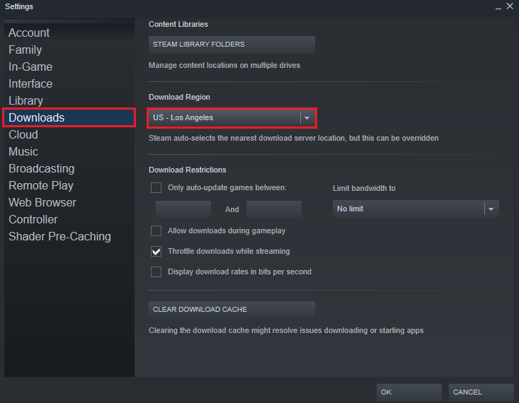 Change the Download Region to Fix Steam Missing File Privileges