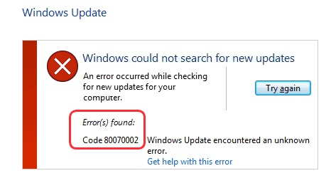Windows Update Error Code 0x80070002